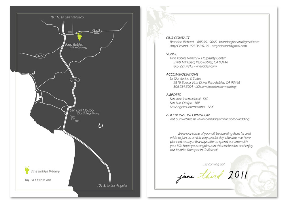 wedding information card